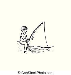 desenhado, esboço, pesca, icon., mão