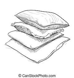 desenhado, esboço, travesseiros, mão