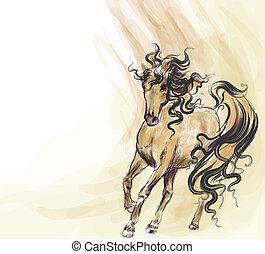 desenhado, executando, cavalo, mão