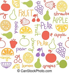 desenhado, fruta, seamless, mão, padrão