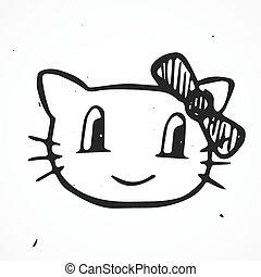 desenhado, gato, vetorial, ilustração, mão