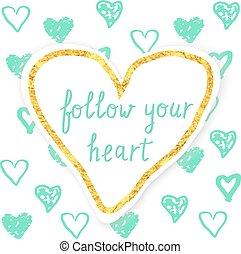 desenhado, heart., ilustração, mão