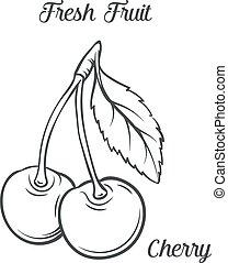 desenhado, icon., mão, cereja