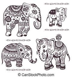 desenhado, jogo, étnico, mão, elefantes