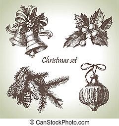 desenhado, jogo, natal, mão