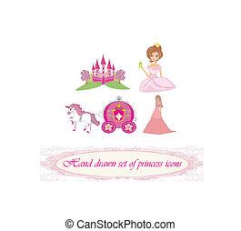 desenhado, jogo, princesa, mão, ícones