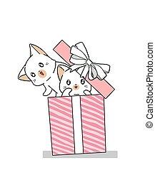 desenhado, kawaii, mão, caixa, cor-de-rosa, presente, 2, gatos