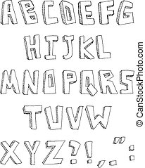 desenhado, mão, alfabeto