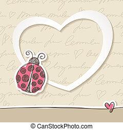 desenhado, mão cartão