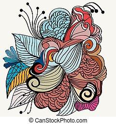 desenhado, mão, desenho, zentangle