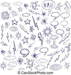 desenhado, mão, doodle