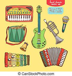 desenhado, mão, instrumento musical