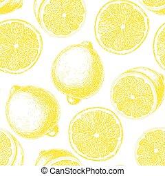 desenhado, mão, limão, padrão