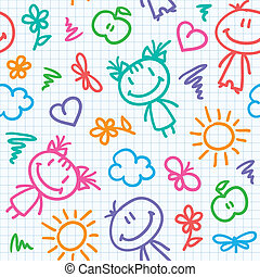 desenhado, mão, padrão, criança