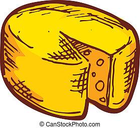 desenhado, mão, queijo