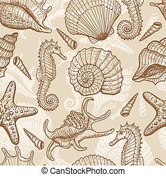 desenhado, mão, seamless, mar, padrão