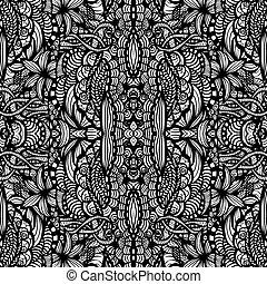 desenhado, mão, seamless, padrão