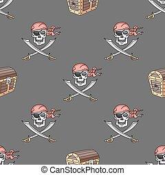 desenhado, mão, seamless, pirata, padrão