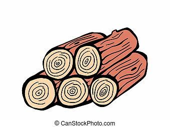 desenhado, madeira, log, mão