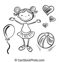 desenhado, menina, brinquedos, ilustração, mão