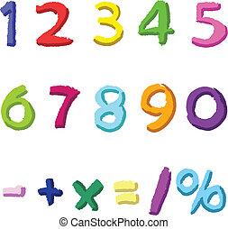 desenhado, números, coloridos, mão