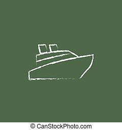 desenhado, navio, chalk., ícone, cruzeiro