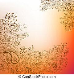 desenhado, oriental, fundo, mão