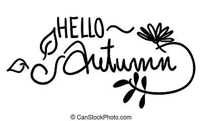 desenhado, outono, mão, olá