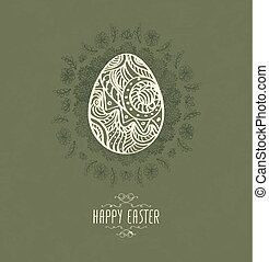 desenhado, Páscoa, ovo, mão
