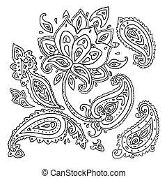 desenhado, paisley, ornament., mão