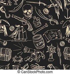 desenhado, pattern., piratas, mão