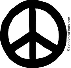 desenhado, paz, sinal mão