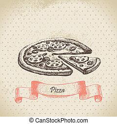 desenhado, pizza., ilustração, mão