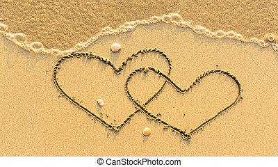 desenhado, praia areia, dois corações