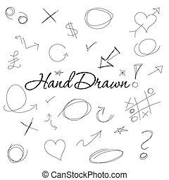 desenhado, projetos, mão