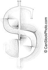 desenhado, símbolo, mão