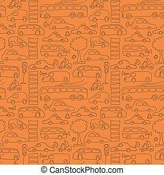 desenhado, seamless, transporte, padrão