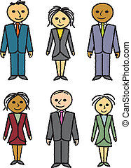 desenhado, seis, pessoas negócio