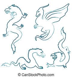 desenhado, silhuetas, jogo, mão, dragão