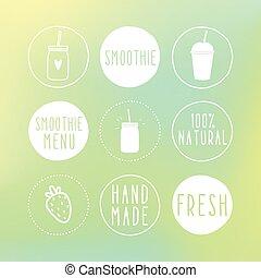 desenhado, smoothie, etiquetas, experiência., mão, borrão