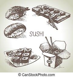 desenhado, sushi, jogo, mão