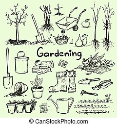 desenhado, tools., jardim, mão