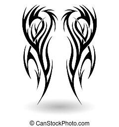 desenhado, tribal, mão, tatuagem