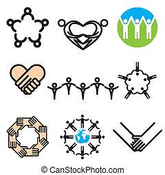 desenhado, unidade, jogo, mão, ícones