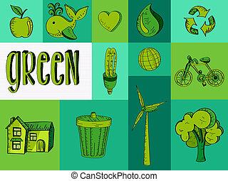 desenhado, verde, recursos, icons., mão