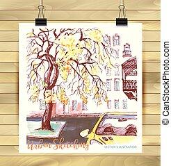 desenhado, vetorial, cityscape., mão