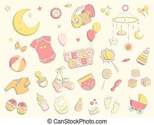 desenhado, vetorial, doodle, recem nascido, ilustração, set., criança, mão, themed