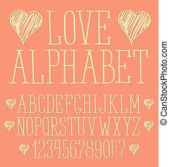 desenhado, vetorial, mão, alfabeto