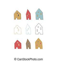 desenhado, vetorial, mão, casas