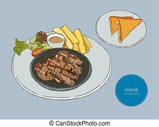 desenhar, carne, alimento, esboço, cortado, vector., bife